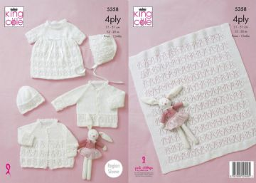 King Cole 5358 Baby's Dress,Cardigan Blanket Bonnet and Hat ,4 Ply Knitting Pattern